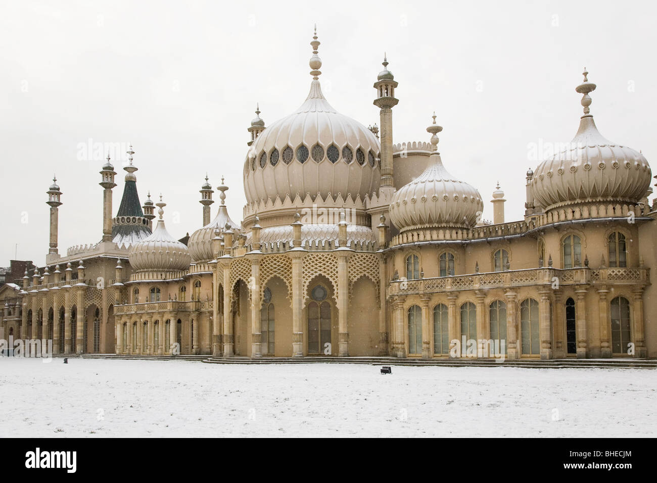 Snow falls on on the Royal Pavilion in Brighton, England. Stock Photo