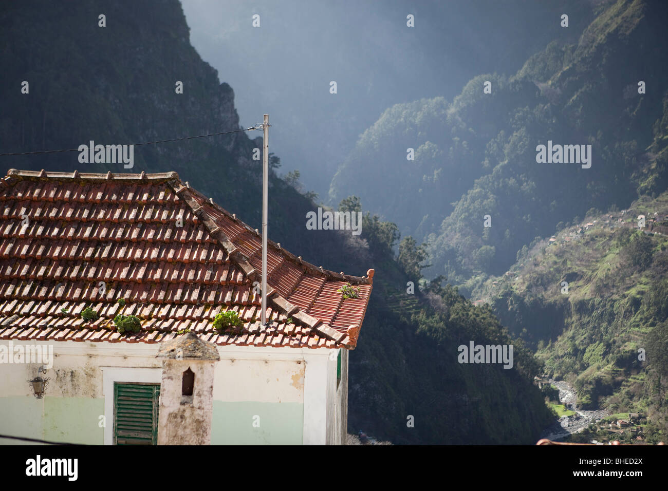 Curral das Freiras (Refuge of the Nuns) is a beatiful, isolated valley community north of Funchal - Stock Image