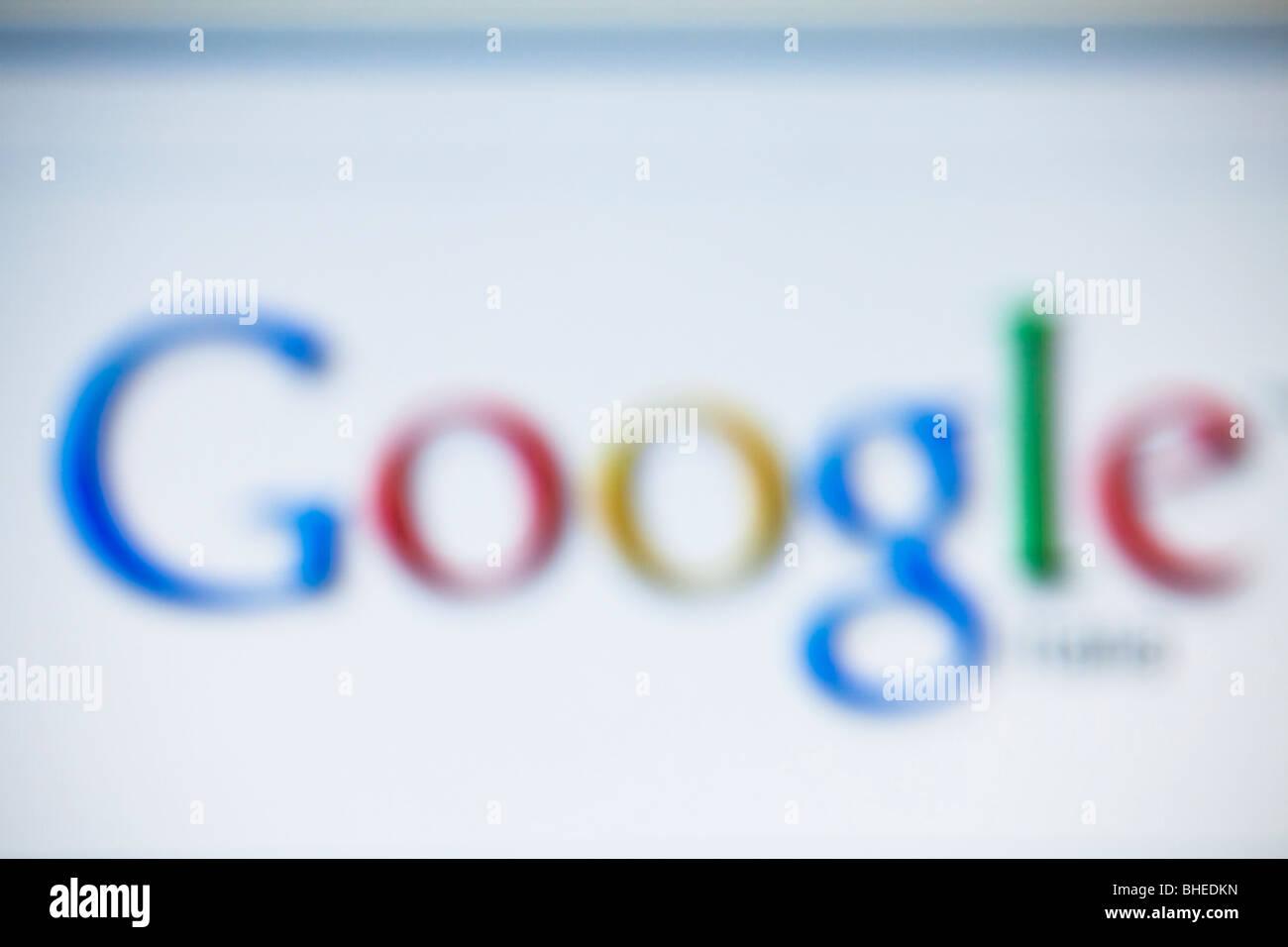 Blurred Google brand screenshot - Stock Image