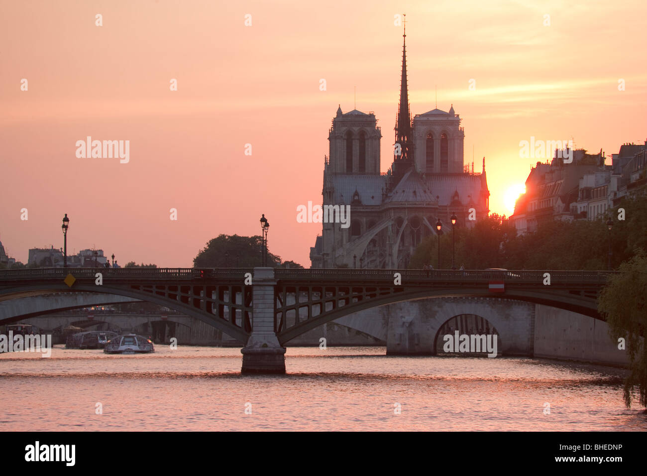 Notre Dame Cathedral, Seine, sunset, Paris, France - Stock Image