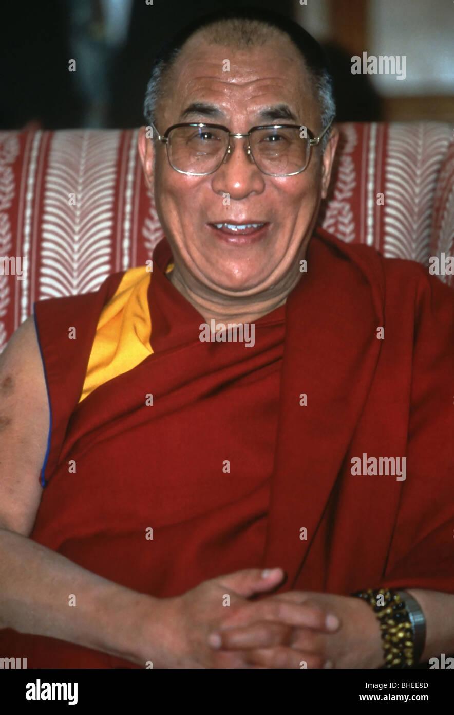 The Dalai Lama, spiritual leader of the Tibetan people during a visit to Washington April 4, 1997 in Washington, - Stock Image