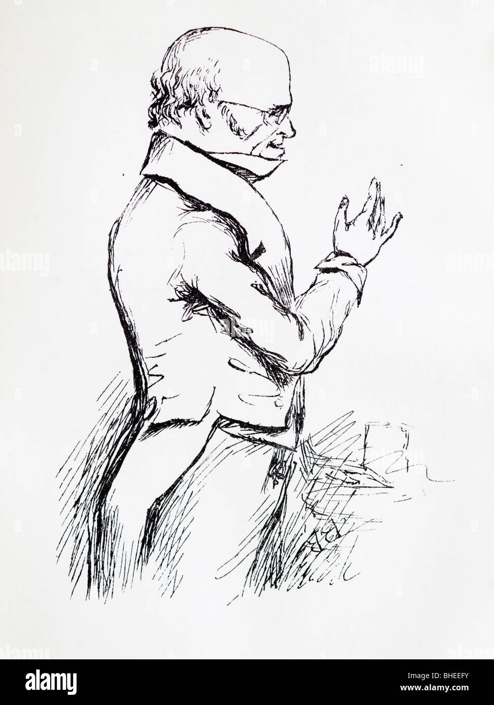 Drawing of the Scottish Anatomist Dr Robert Knox lecturing - Stock Image