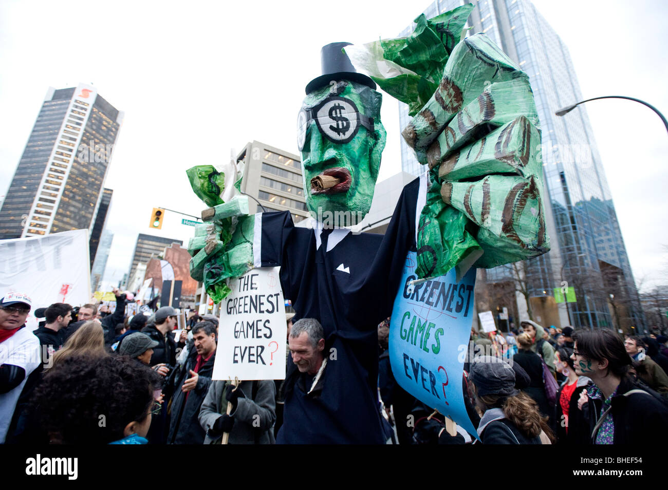 A giant puppet at an anti Olympic protest during the opening day of the 2010 Vancouver Olympic games. February 12th, - Stock Image