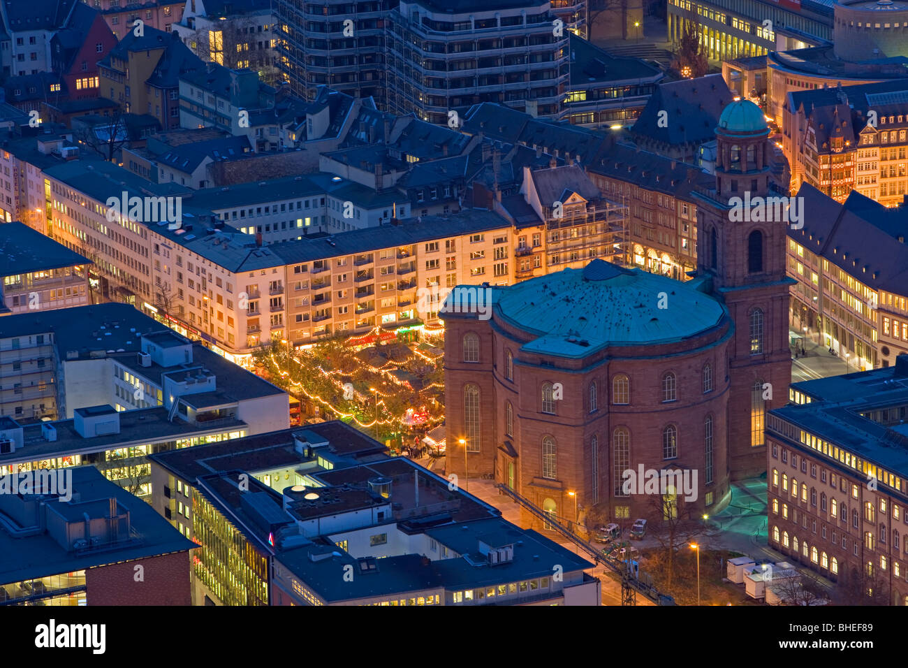 Paulskirche (Saint Paul's Church), a national historic monument and Christkindlmarkt (Christmas markets) in - Stock Image