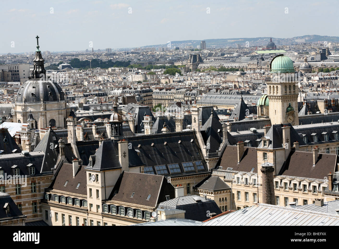 High view of the Sorbonne, University of Paris - Stock Image