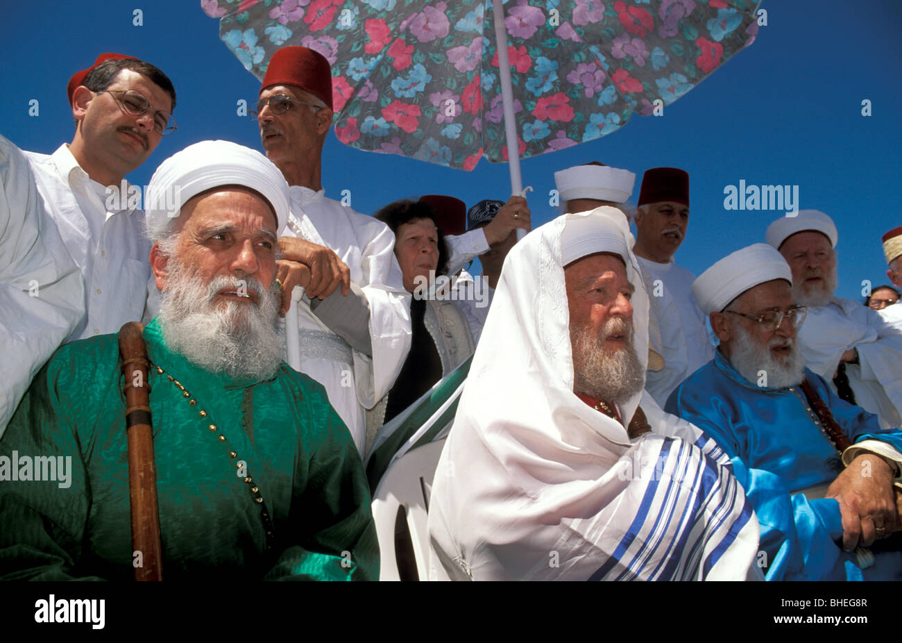 Samaria, the Samaritan Passover Sacrifice on Mount Gerizim, Samaritan Priests - Stock Image