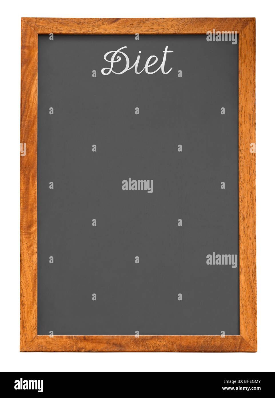 Menu chalkboard for diet food list isolated on white background with clipping path Stock Photo
