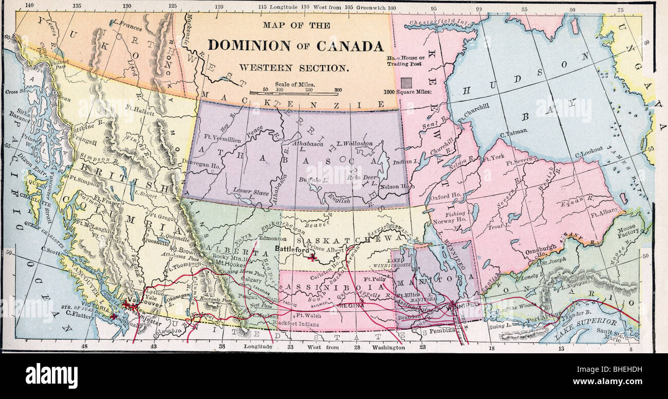 West Of Canada Map.Old Map Western Canada Stock Photos Old Map Western Canada Stock