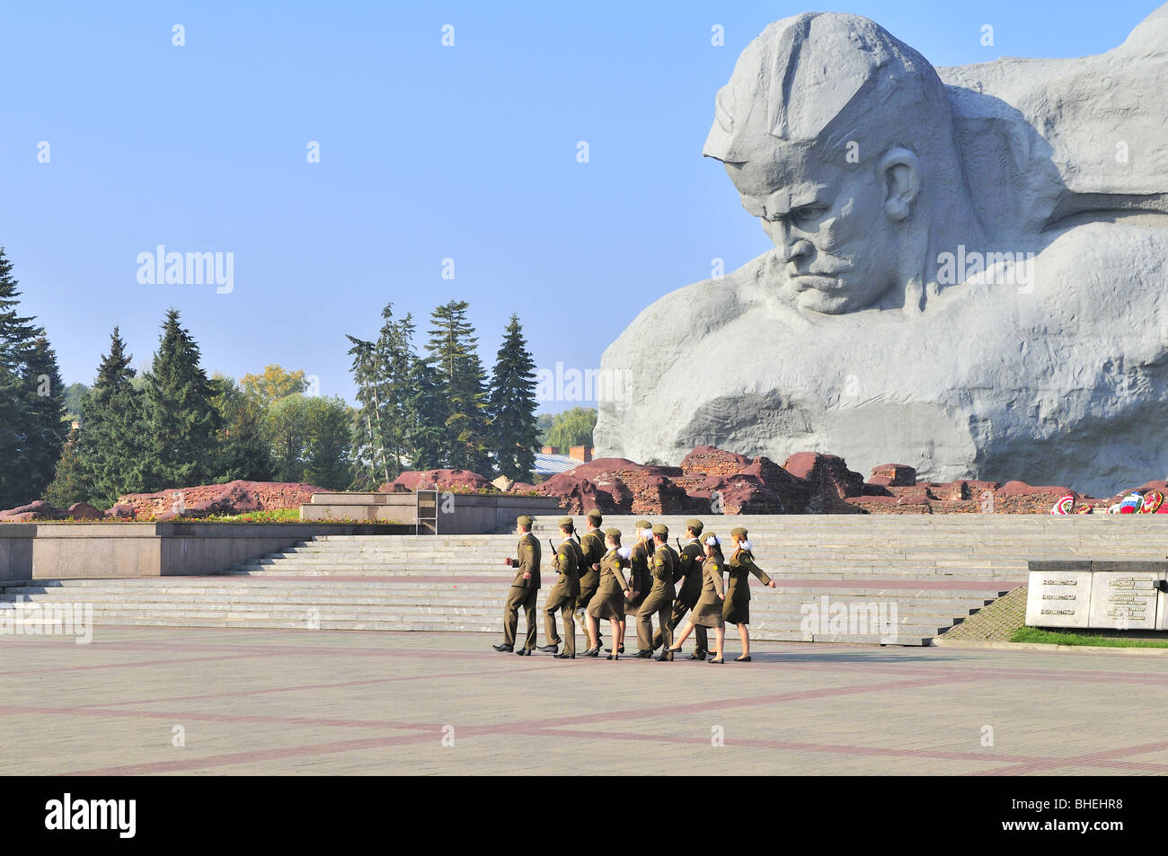 guards of honor in memorial complex of the Fortress of Brest, Belarus - Stock Image