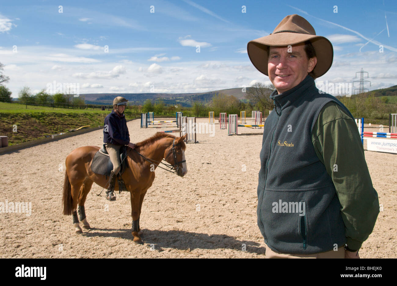 Australian Matt Ryan - Triple Olympic Gold Medallist at his equestrian centre near Abergavenny Monmouthshire South - Stock Image