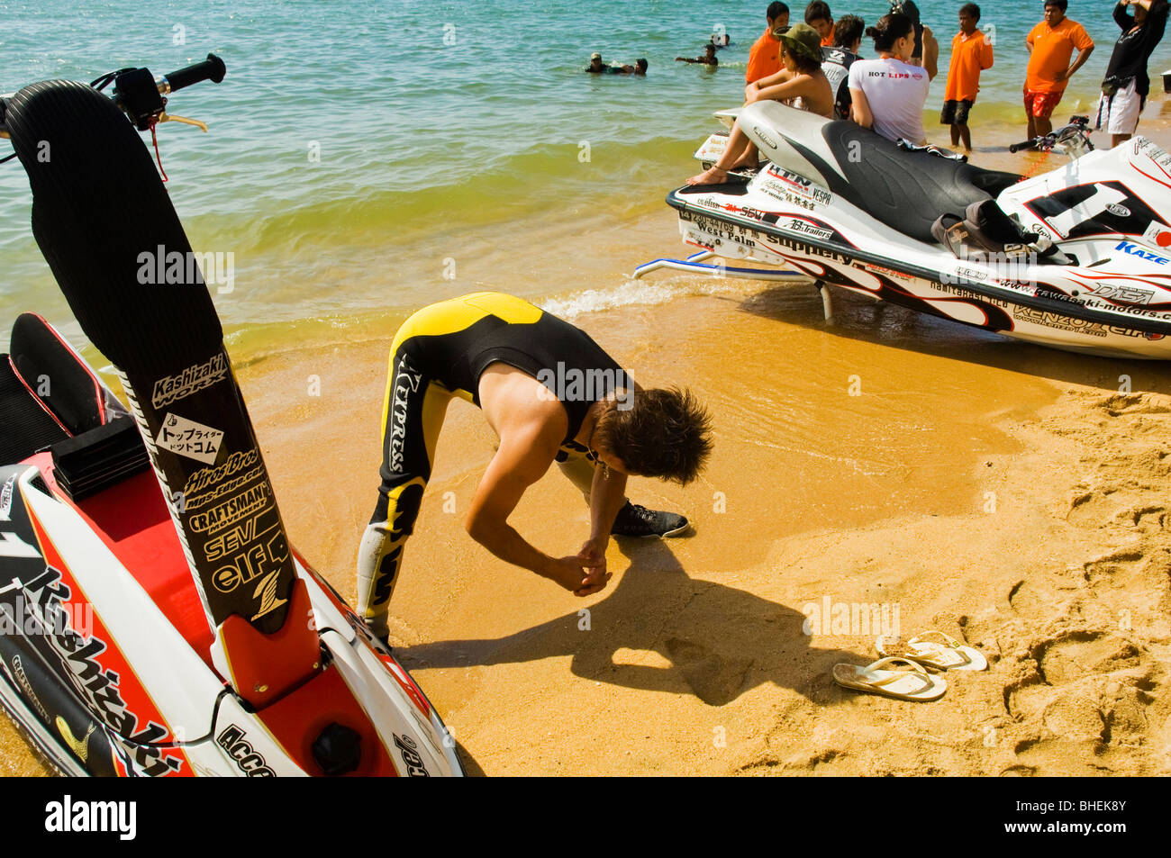 11th World Watercross King's Cup - Open 2006 Pattaya, Thailand - participant doing preparatory exercise before - Stock Image