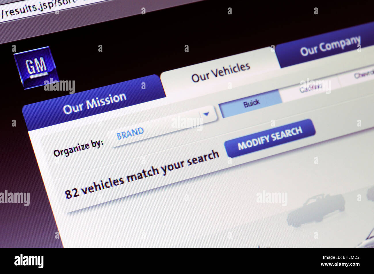 General Motors website - Stock Image