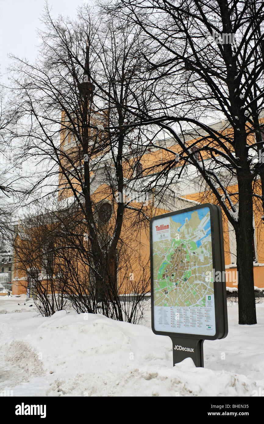 St John's Church and city map, Tallinn, Estonia. Stock Photo