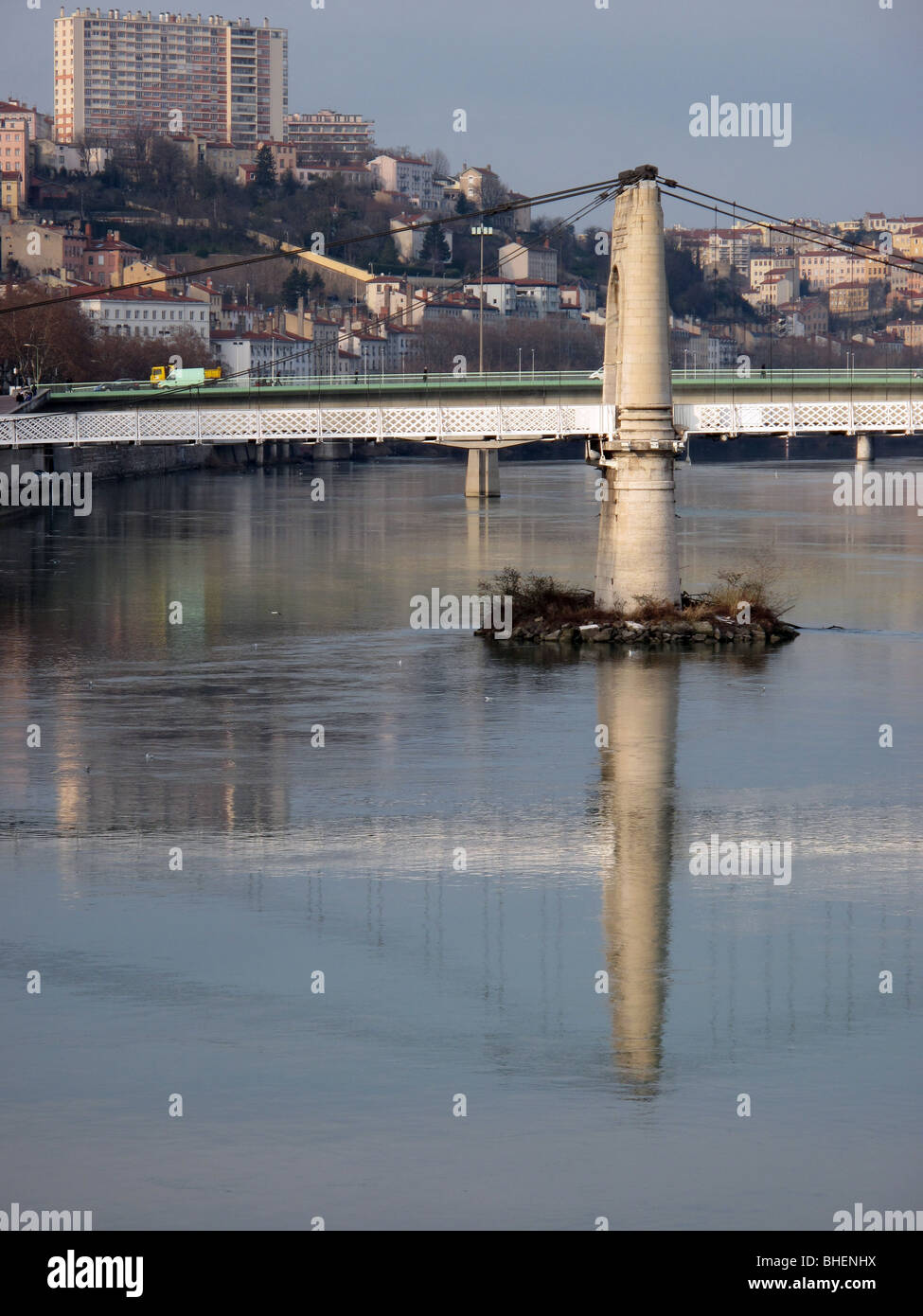 view of a post of the passerelle du college over the rhone river from pont lafayette - Lyon - France - Stock Image