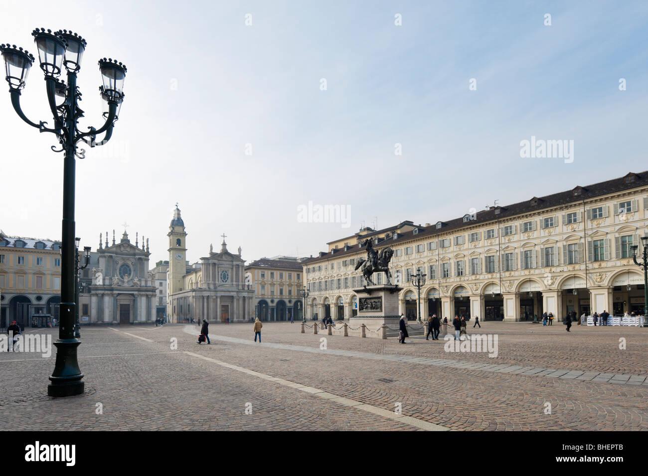 Piazza San Carlo in the historic city centre, Turin, Piemonte, Italy - Stock Image