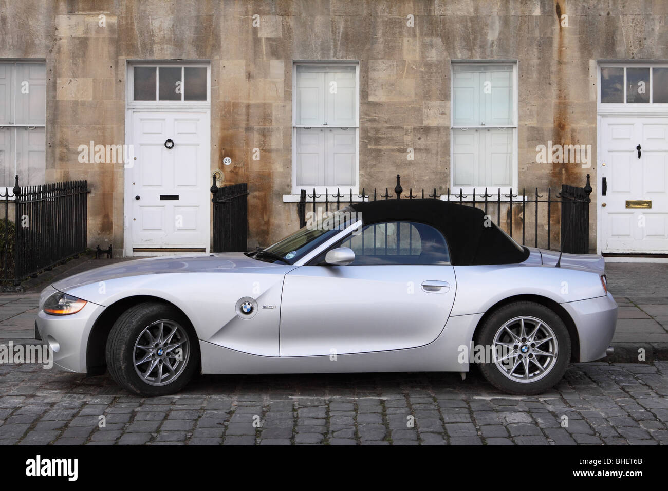 BMW Z4 Roadster convertible soft top sports car parked in The Royal Crescent Bath - Stock Image