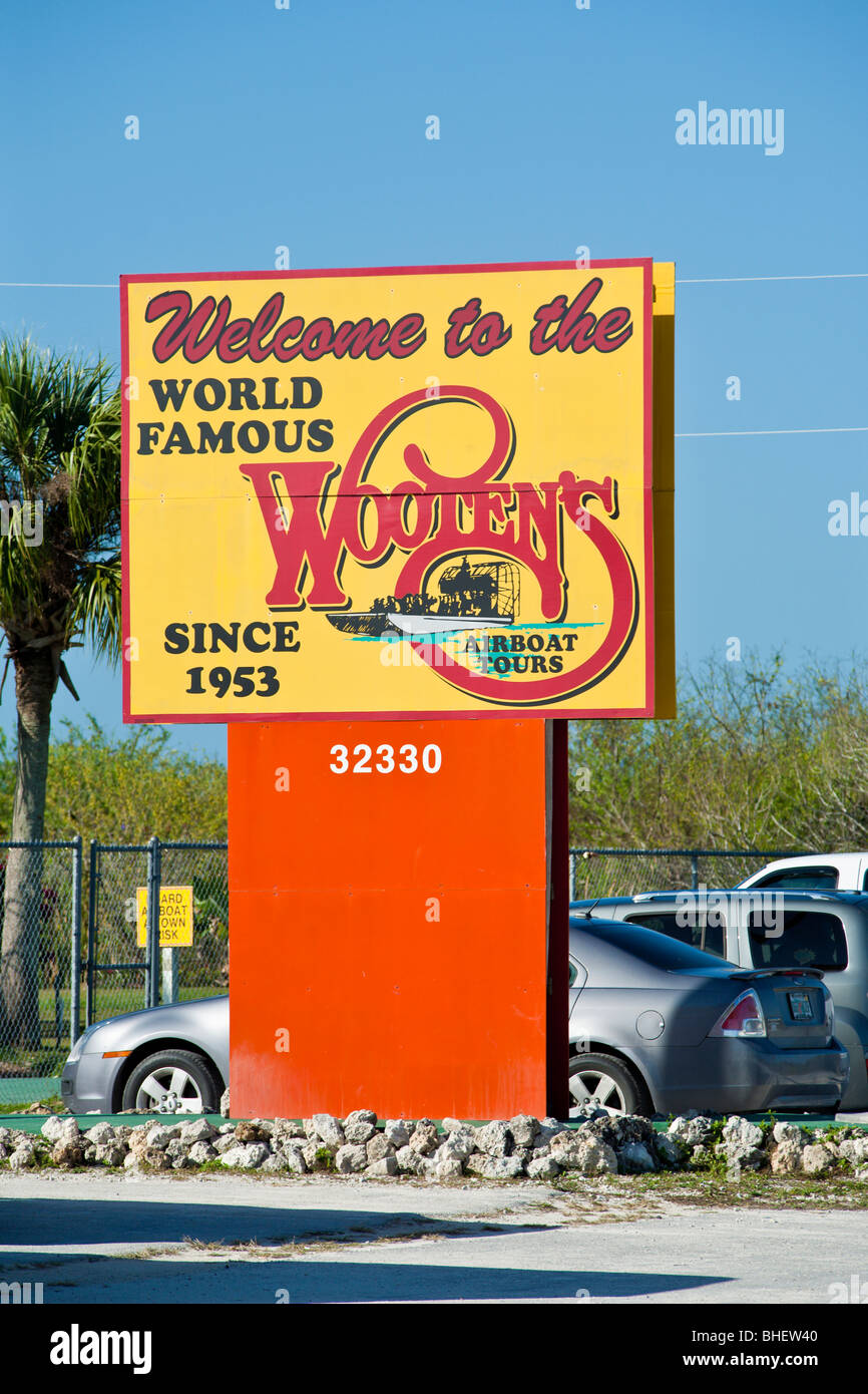 Ochopee, FL - Nov 2008 - Sign for Wooten's World Famous Airboat Tours in the Everglades along Alligator Alley - Stock Image