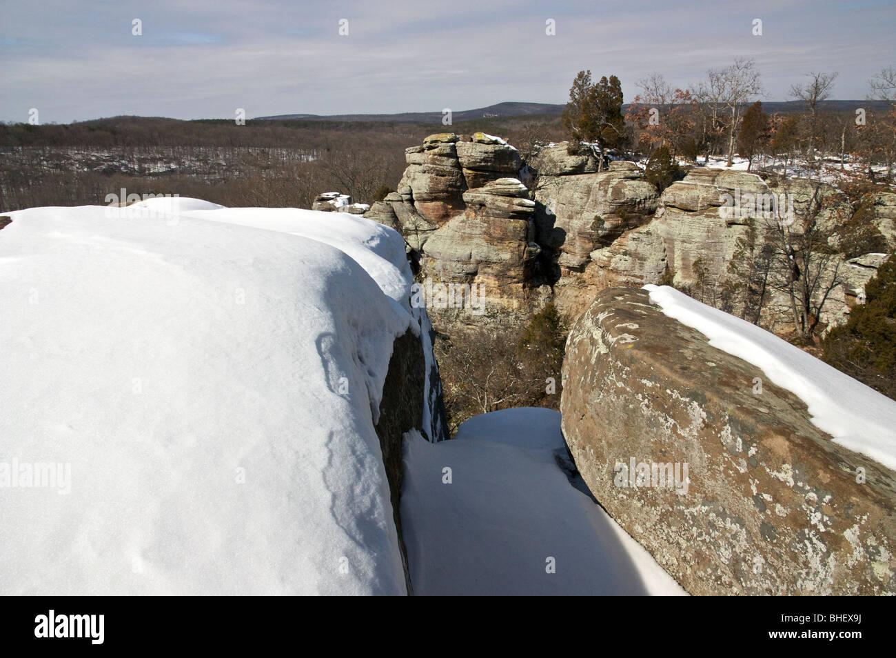 Garden of the Gods Recreation Area in winter. Illinois USA. - Stock Image