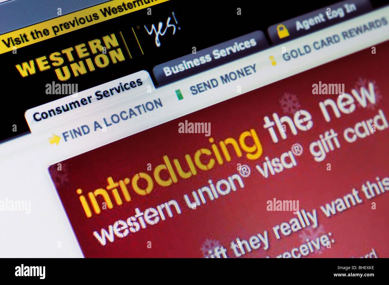 Western Union website - Stock Image