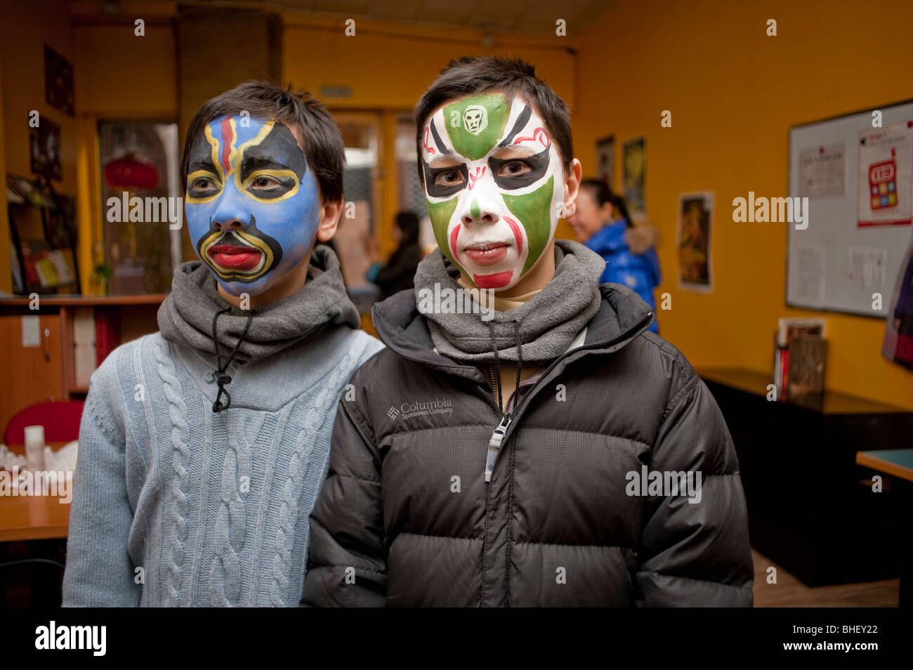 Paris, France, Asians Celebrating Chinese New years, Annual Street Carnival Parade, Portrait Children, Boys with - Stock Image