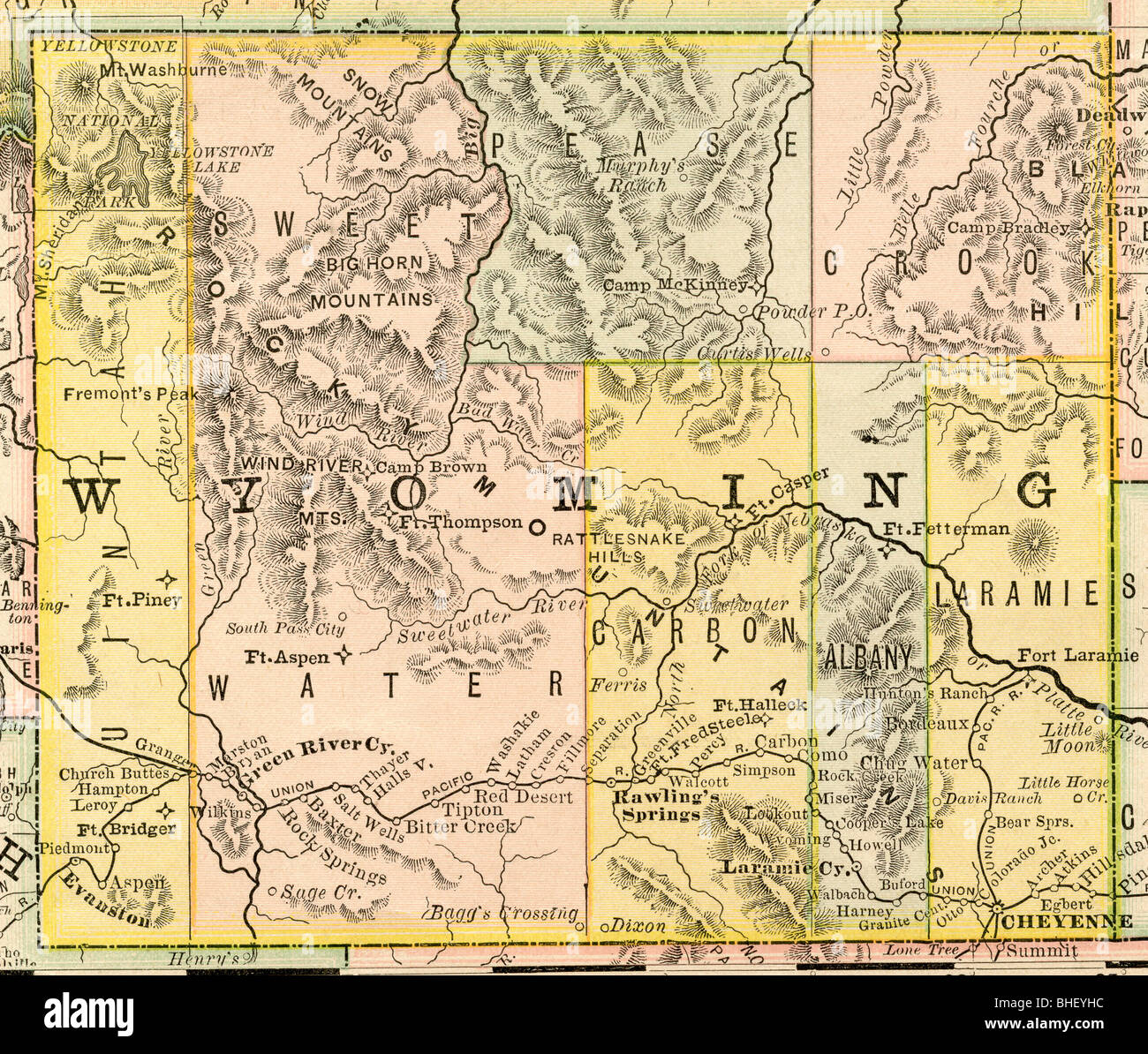 Old map of Wyoming from original geography textbook, 1884 Stock ...
