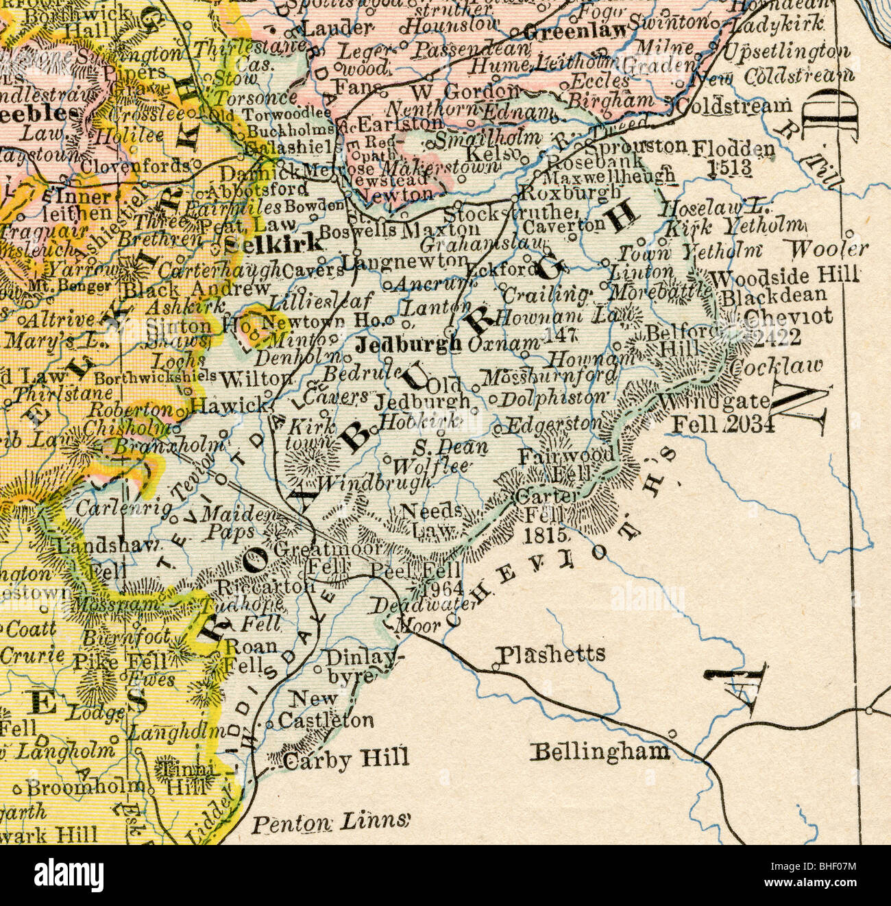 Old map of Roxburgh County (Scotland) from original geography Stock