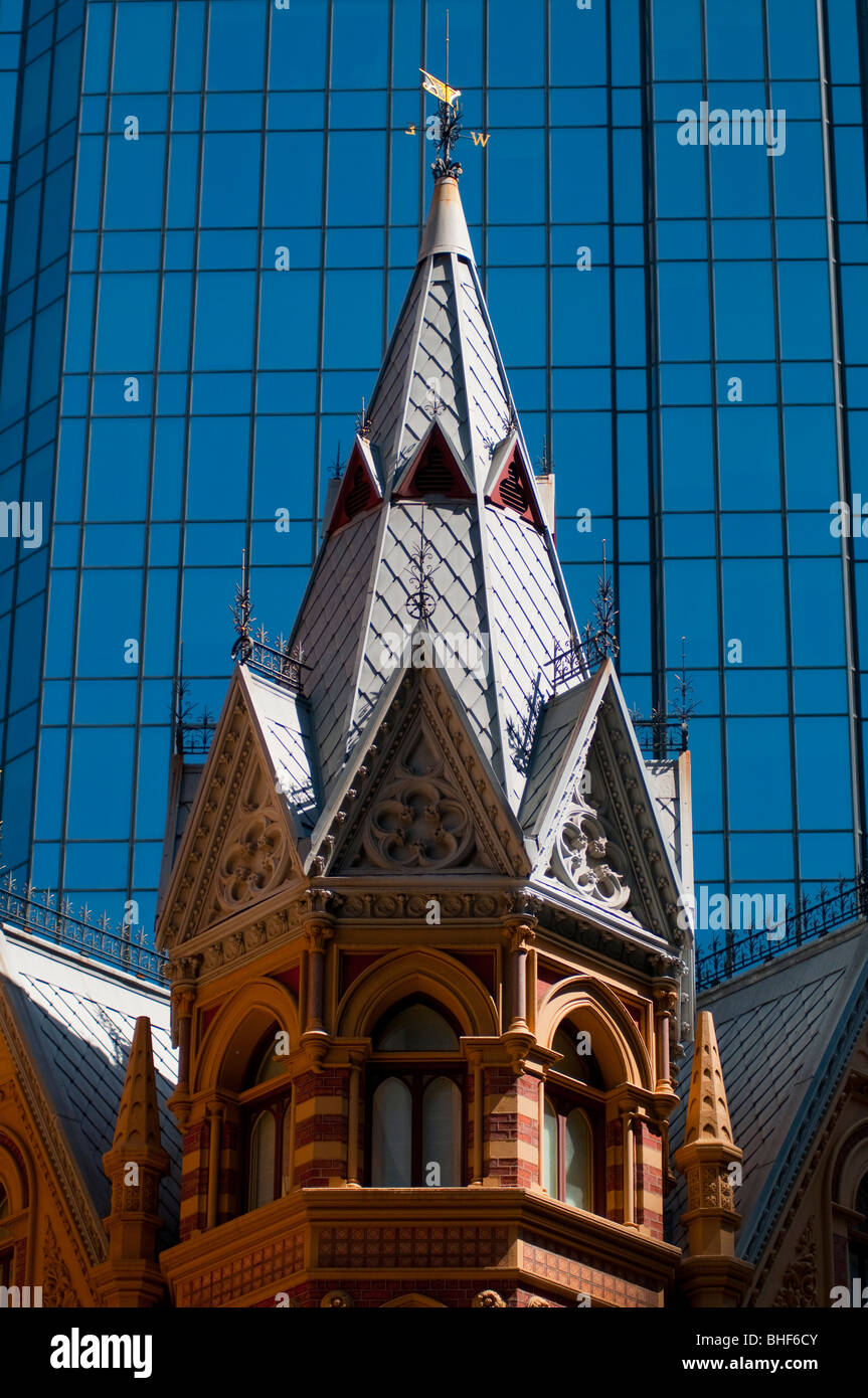 Detail of the The Intercontinental Rialto Hotel building on Collins Street in Melbourne Australia - Stock Image