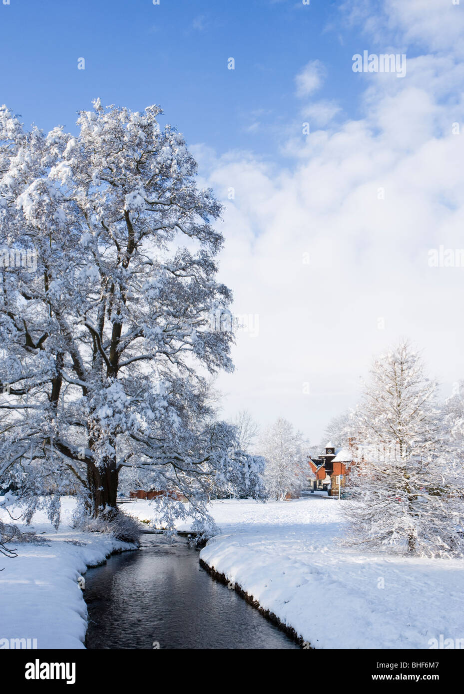 Winter at Abinger Hammer, Surrey, UK. Tilling Bourne. - Stock Image