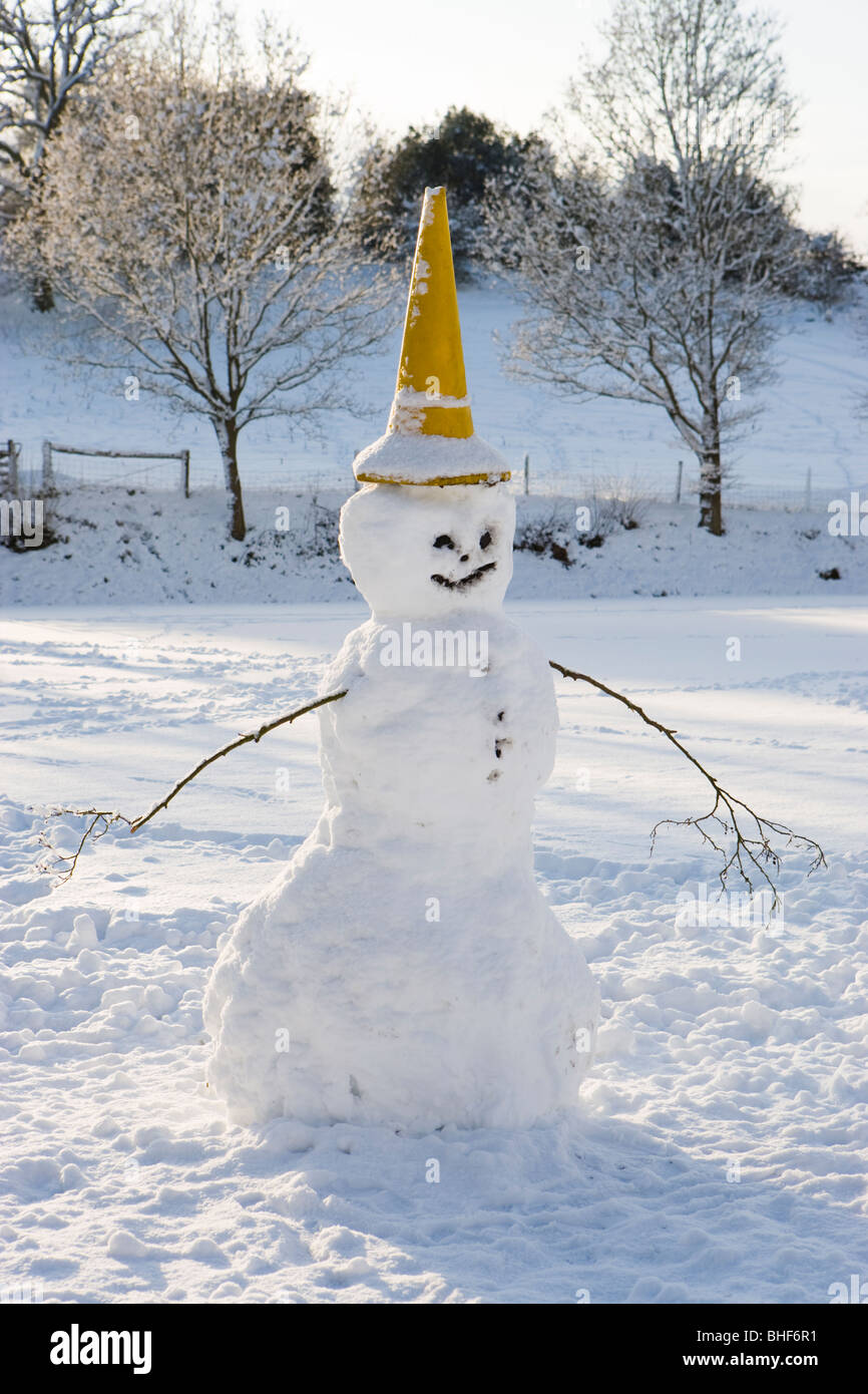 Snowman. Surrey, UK - Stock Image