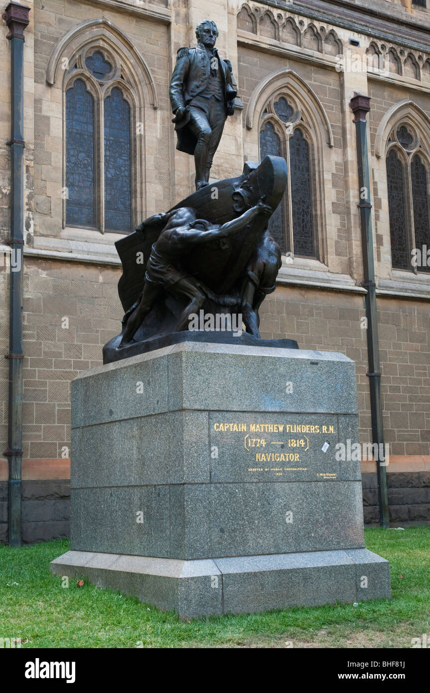 Monument to explorer and navigator Captain Matthew Flinders in Melbourne; Victoria, Australia - Stock Image