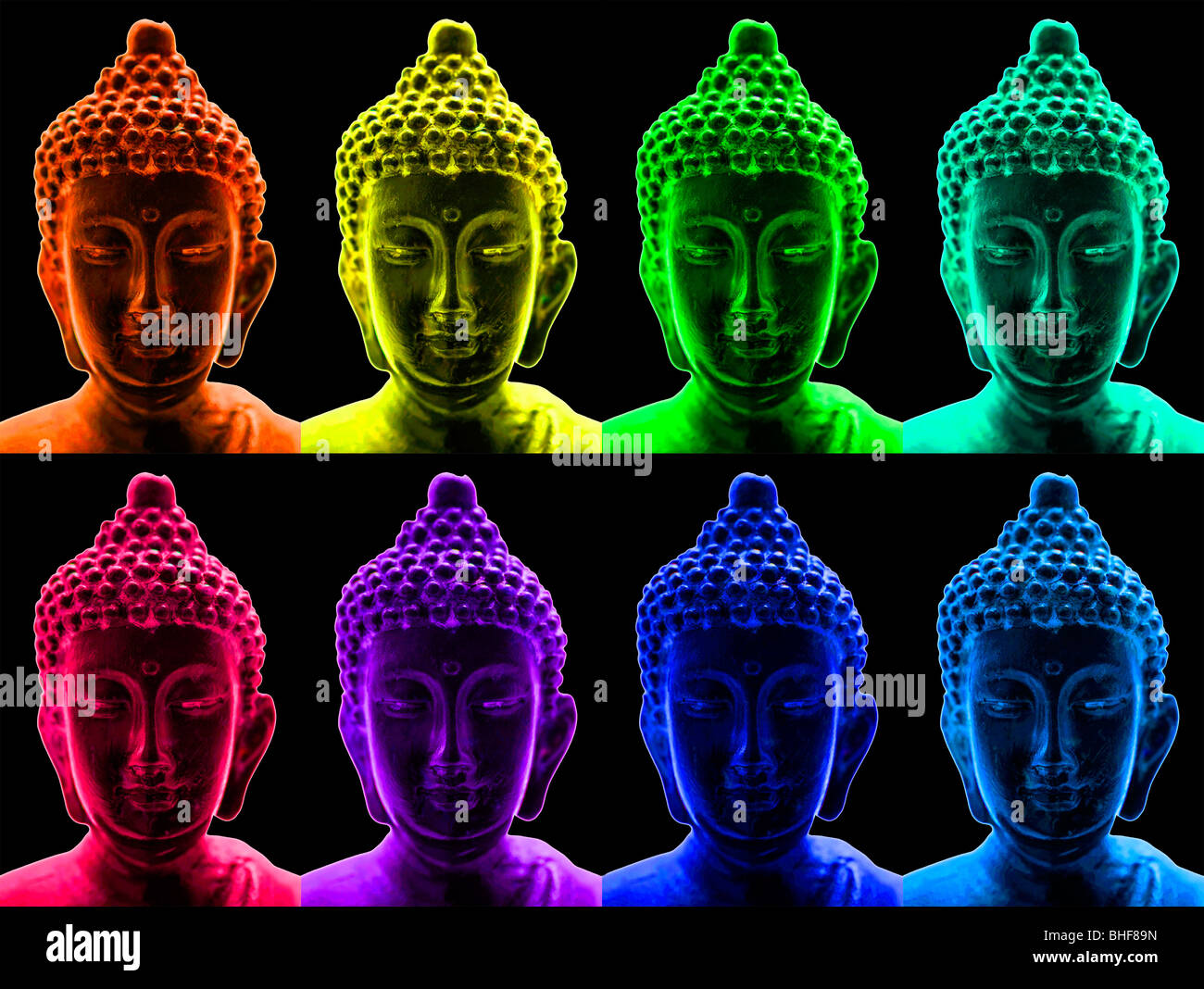 Buddha portraits in a pop art style - Stock Image
