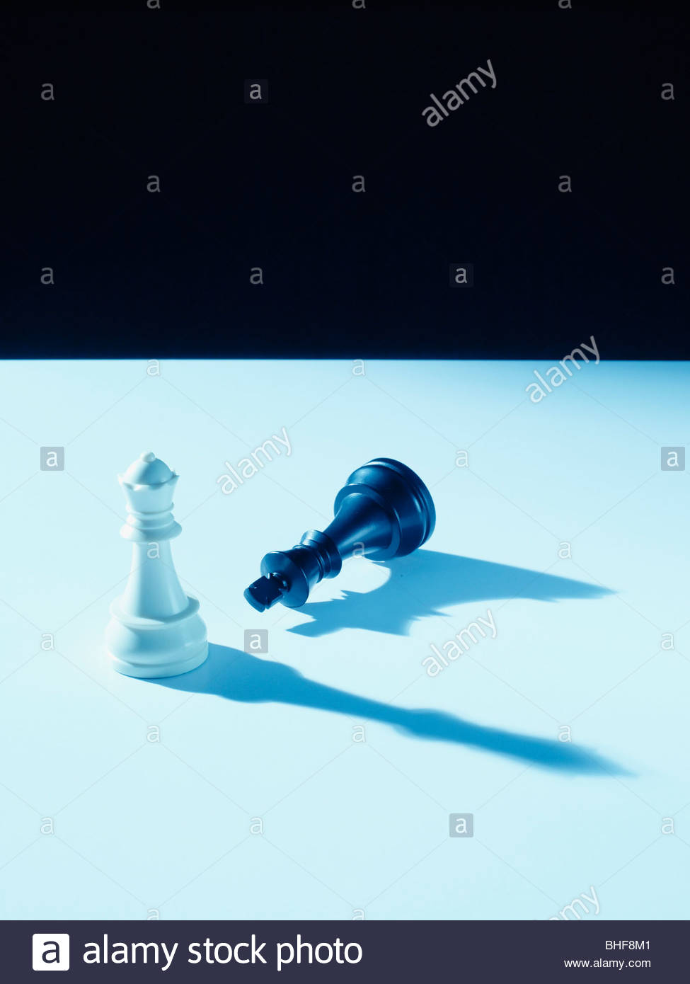 Black and white chess pieces - Stock Image
