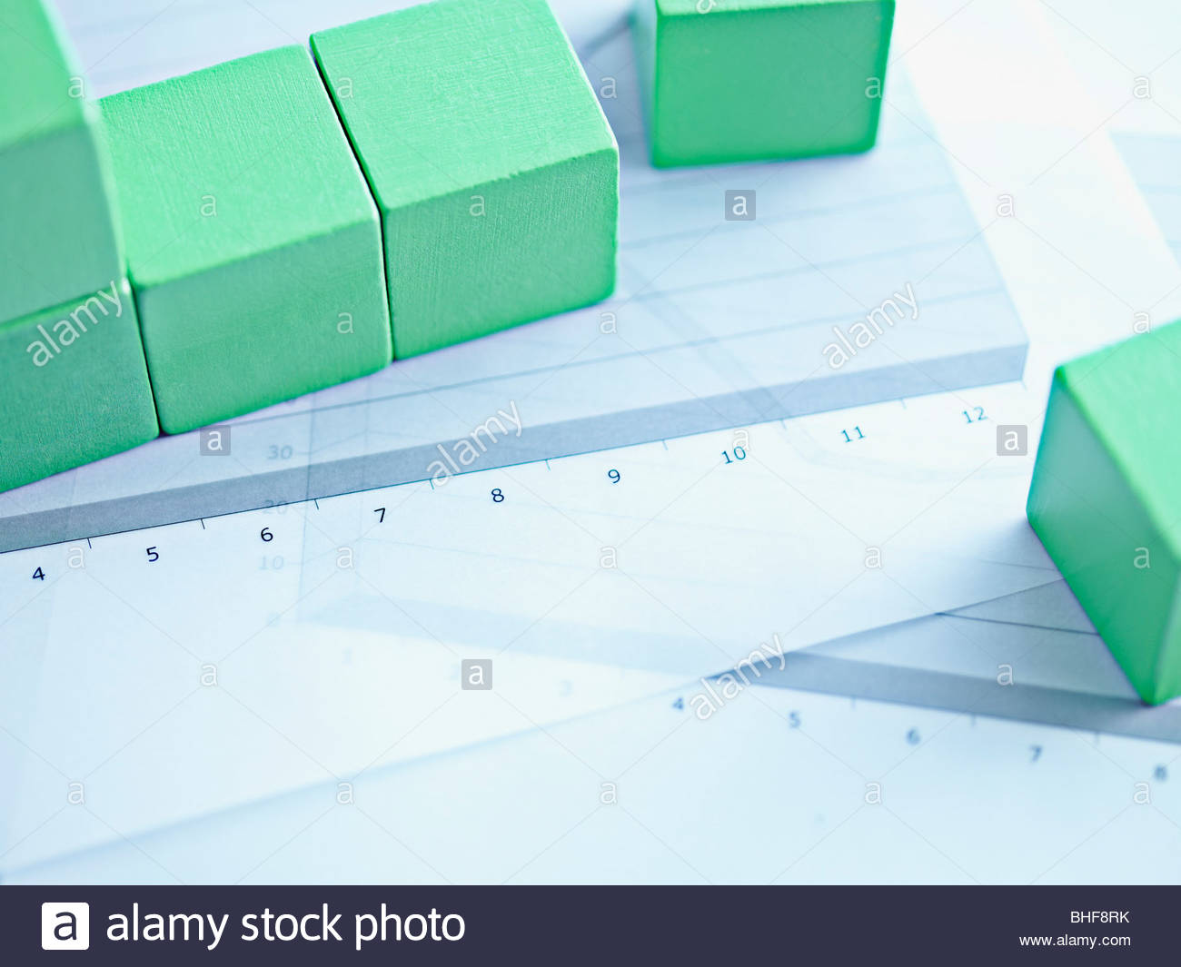 Blocks on paper charts - Stock Image