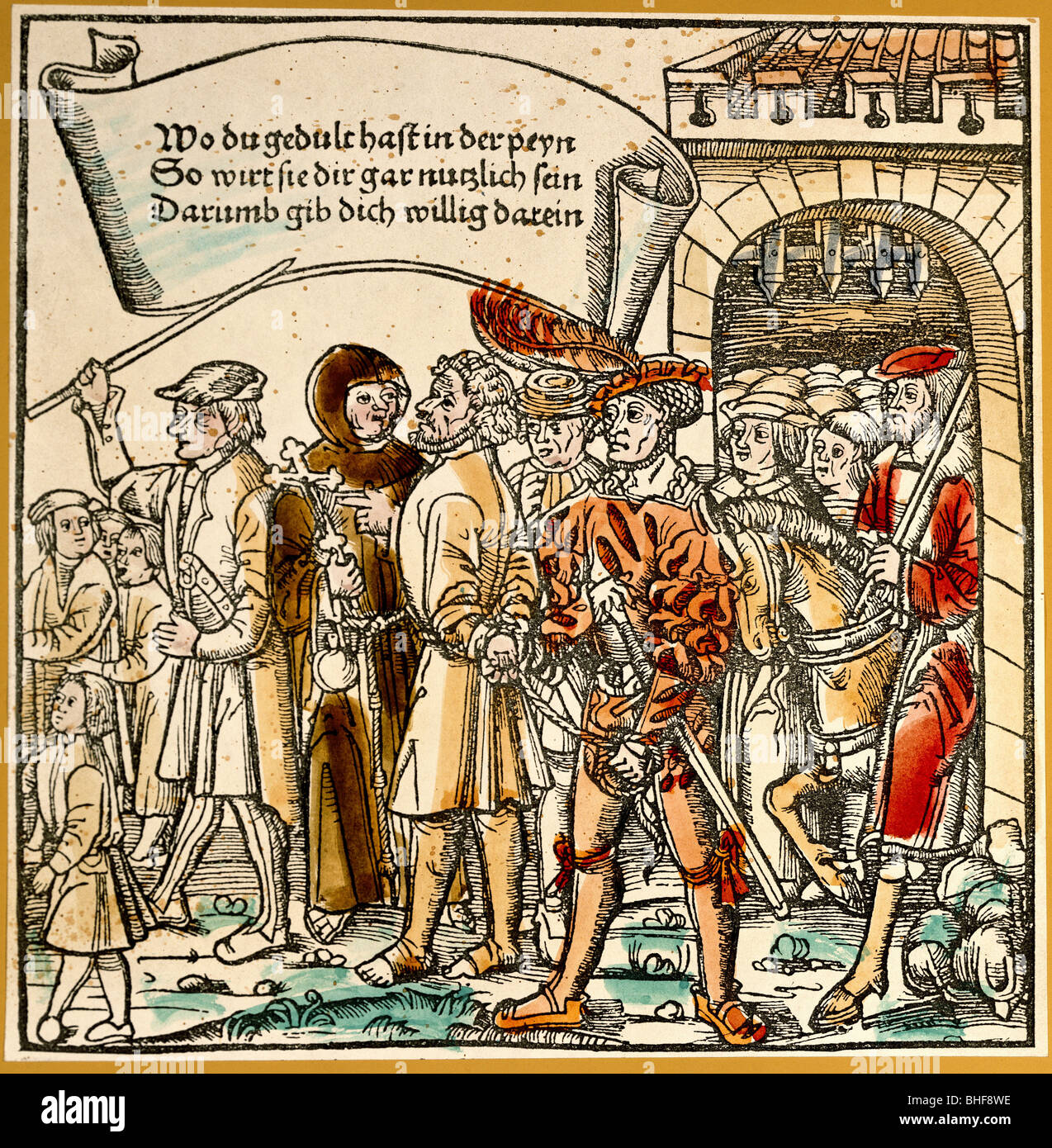 justice, penitentary system, execution, the convict is brought to the gallows, Johann zu Schwarzenberg 'Bambergische - Stock Image