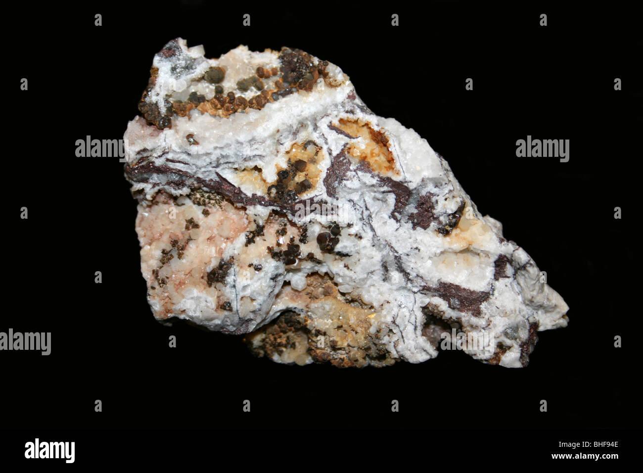 Sphalerite, Quartz & Dolomite - Stock Image
