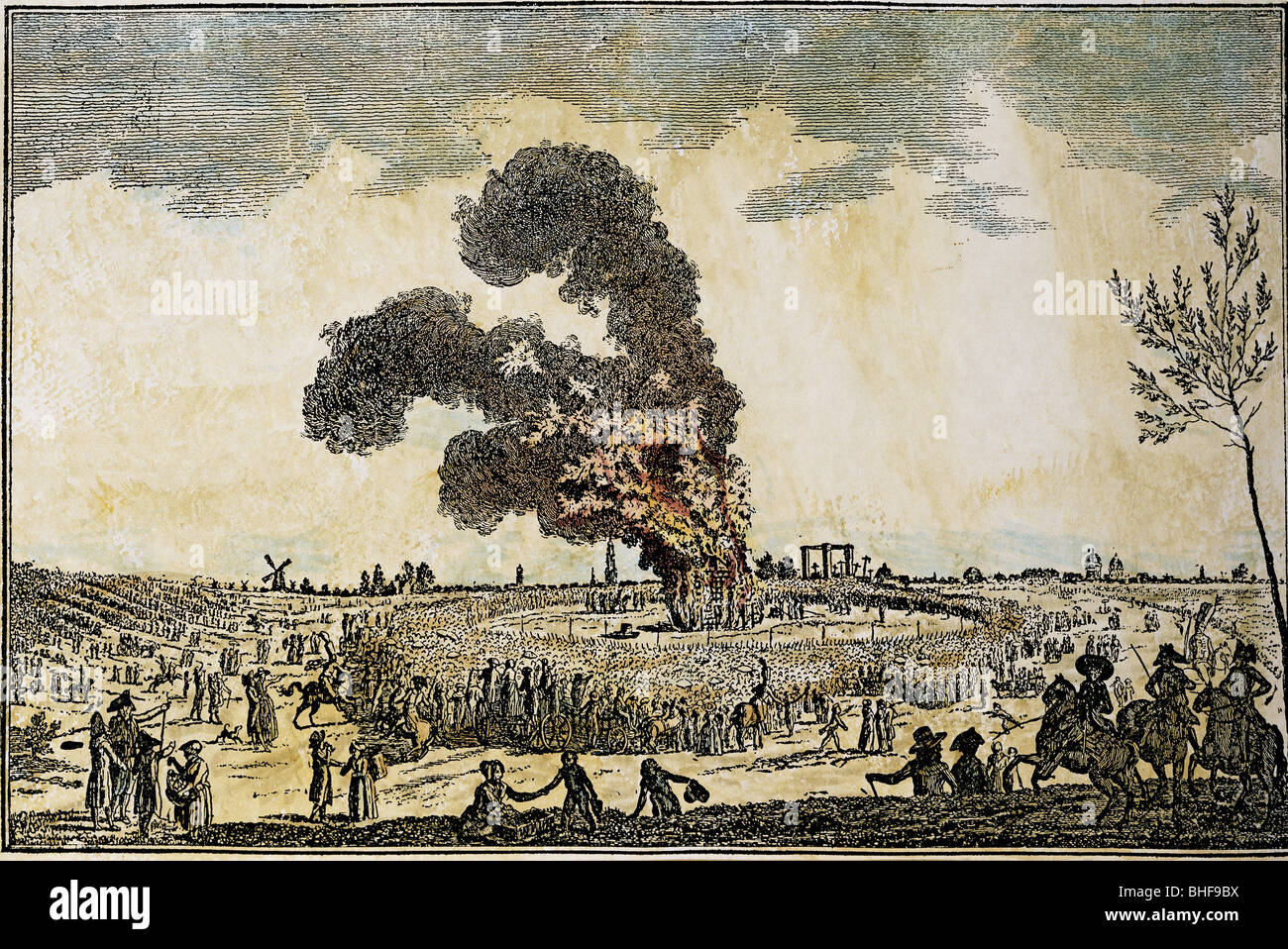 justice, penitentary system, burning at the stake, last execution on the stake, executed on the thief and arsenic - Stock Image