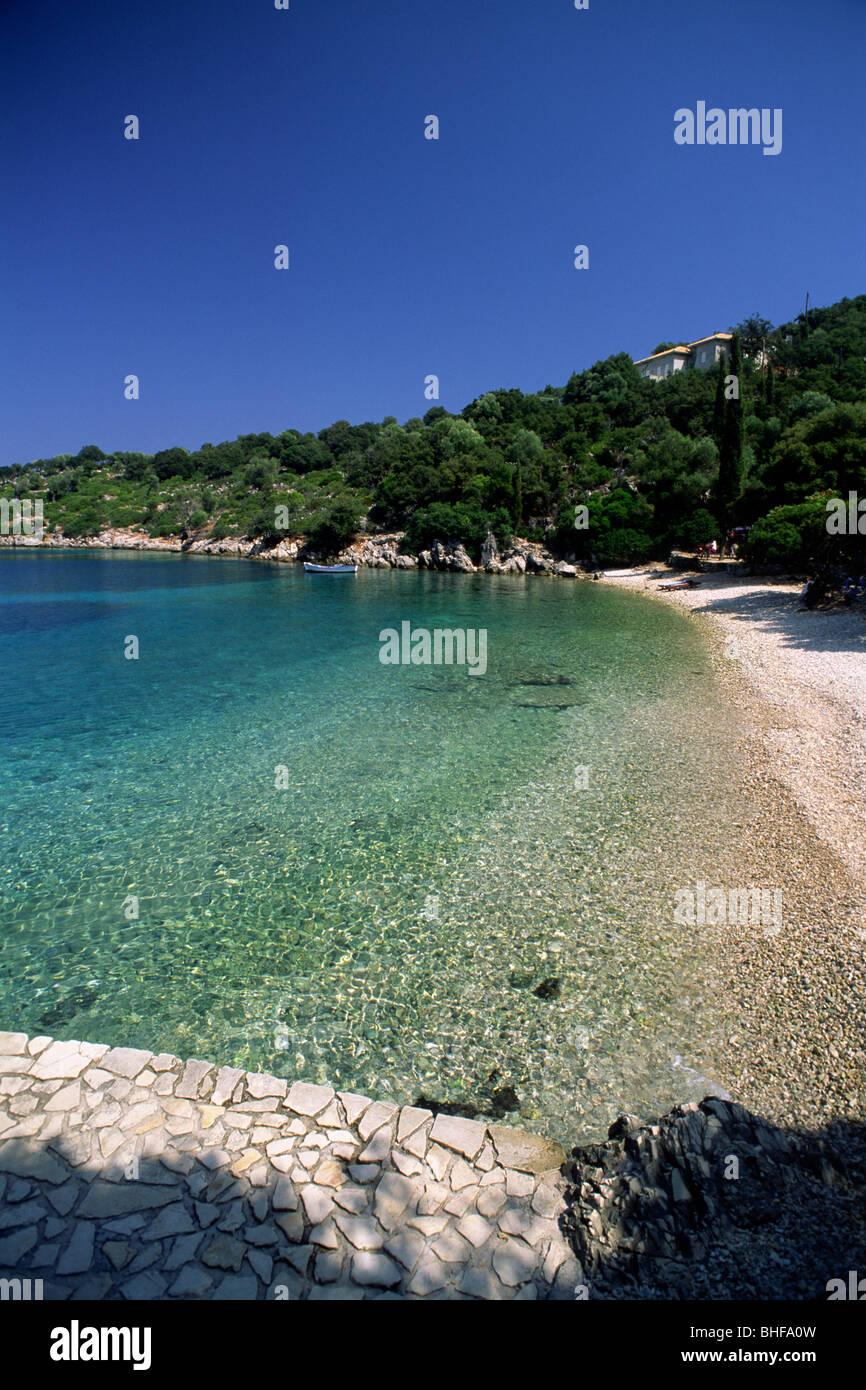 greece, ionian islands, ithaca, kioni beach - Stock Image