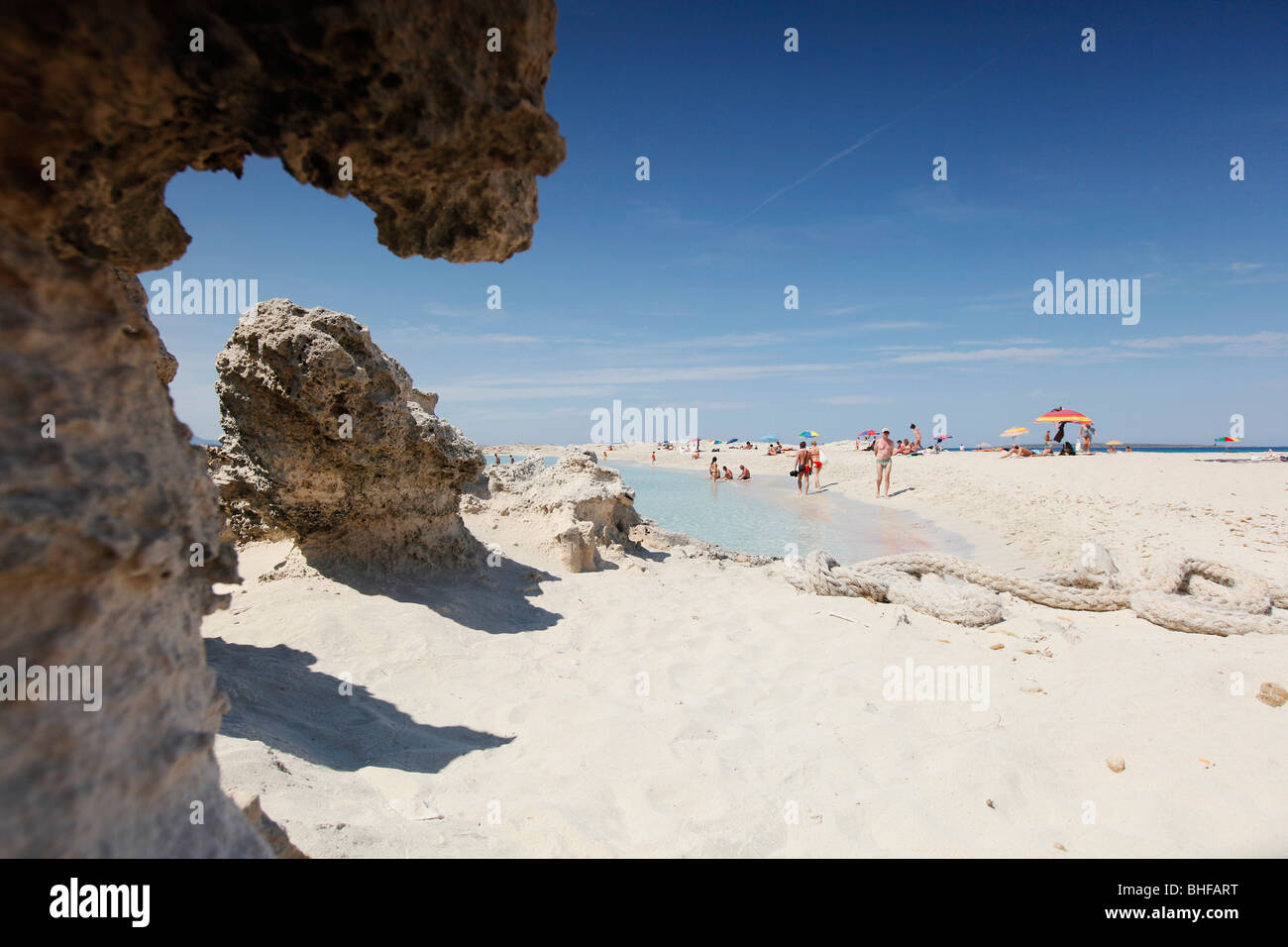 Les Illetes und Llevant beach, Formentera, Balearic Islands, Spain - Stock Image