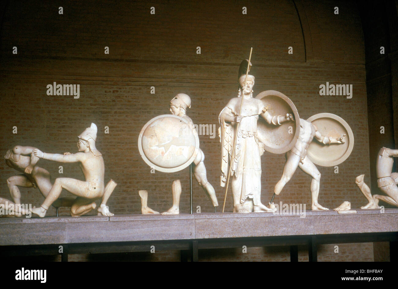 Reconstruction of part of the West Pediment of the Temple of Aphaia, Aegina, Greece, c500 - 480 BC. Stock Photo
