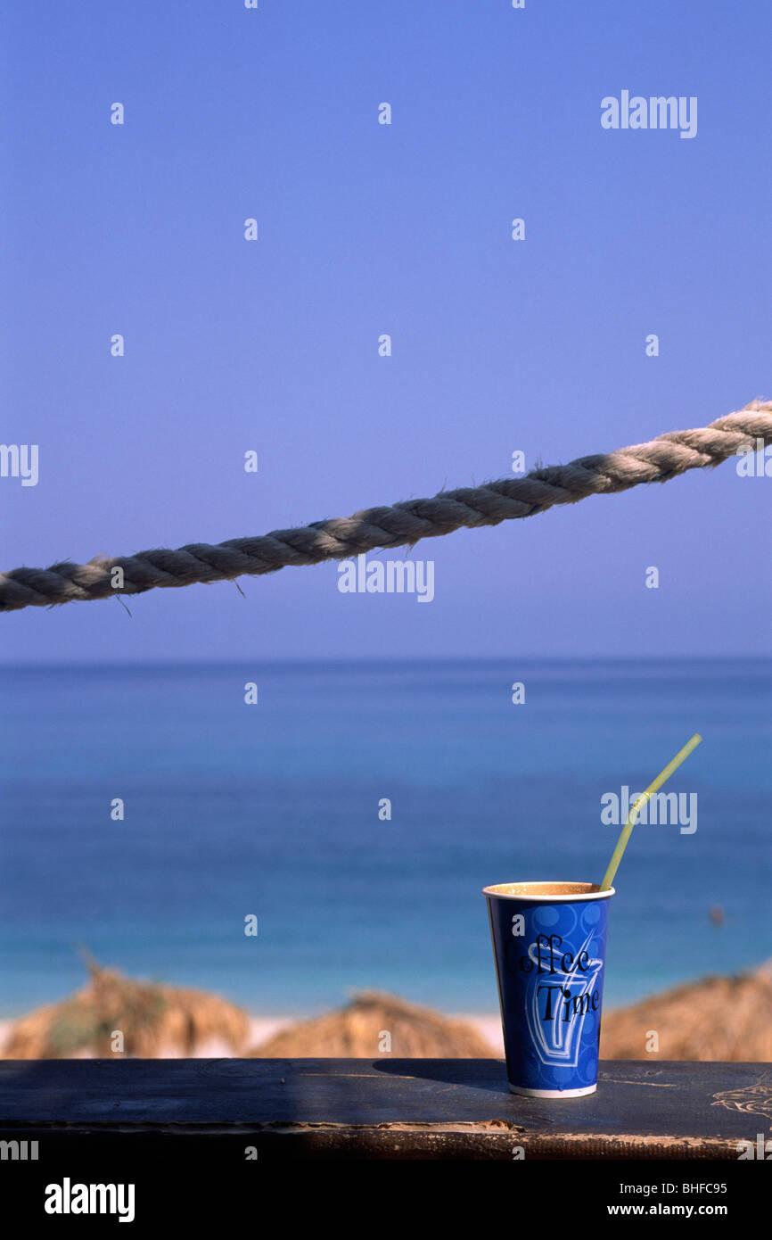 greece, ionian islands, kefalonia, cafe, cold greek coffee glass - Stock Image