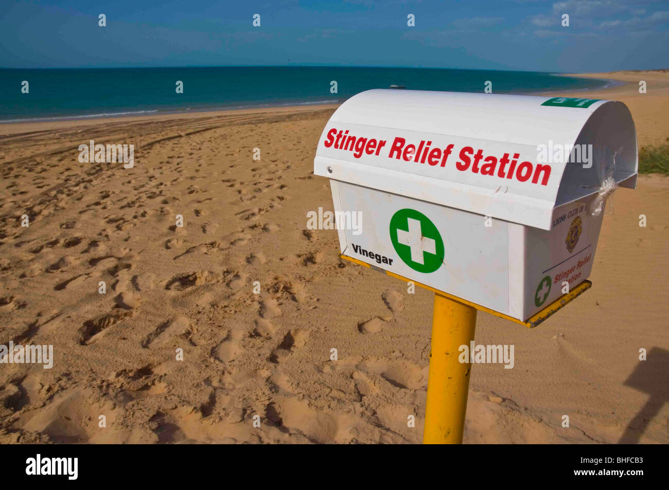 Marine stinger relief station in The Kimberley region of Western Australia - Stock Image