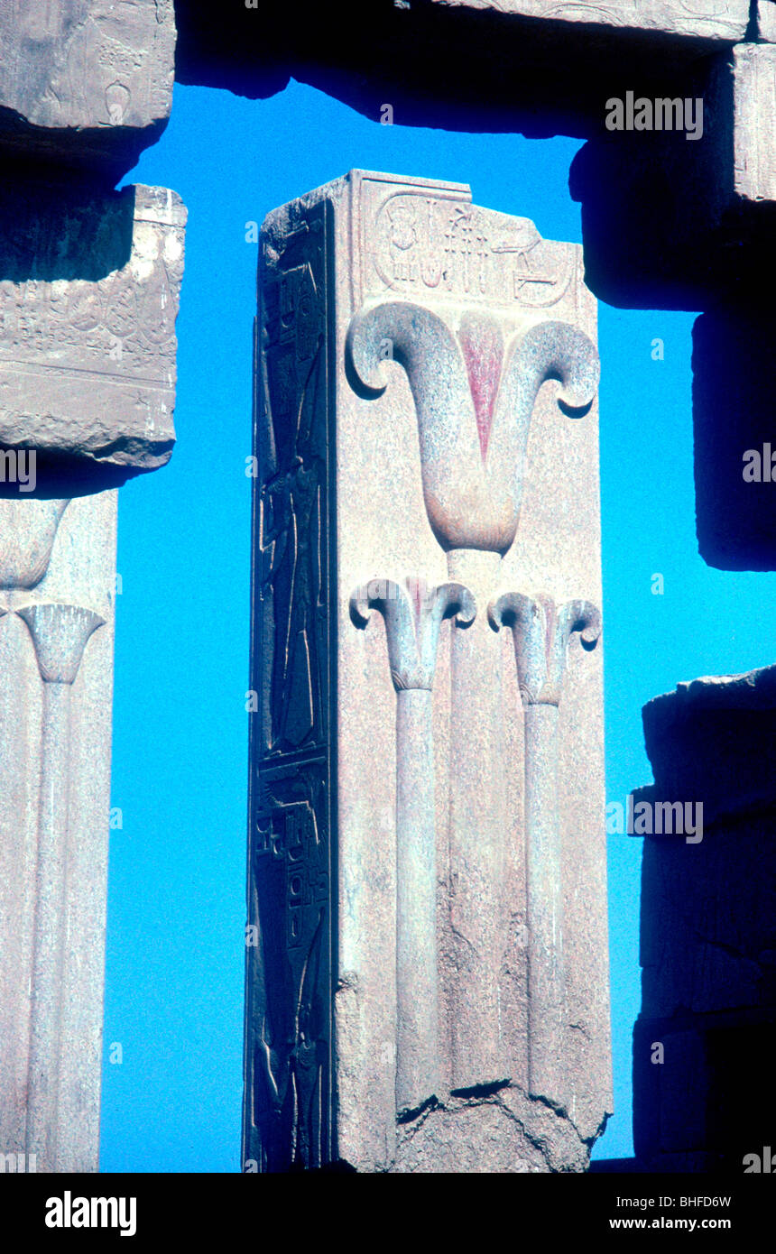 Stylised lotus plants on a column, Temple of Amun, Karnak, Egypt. - Stock Image