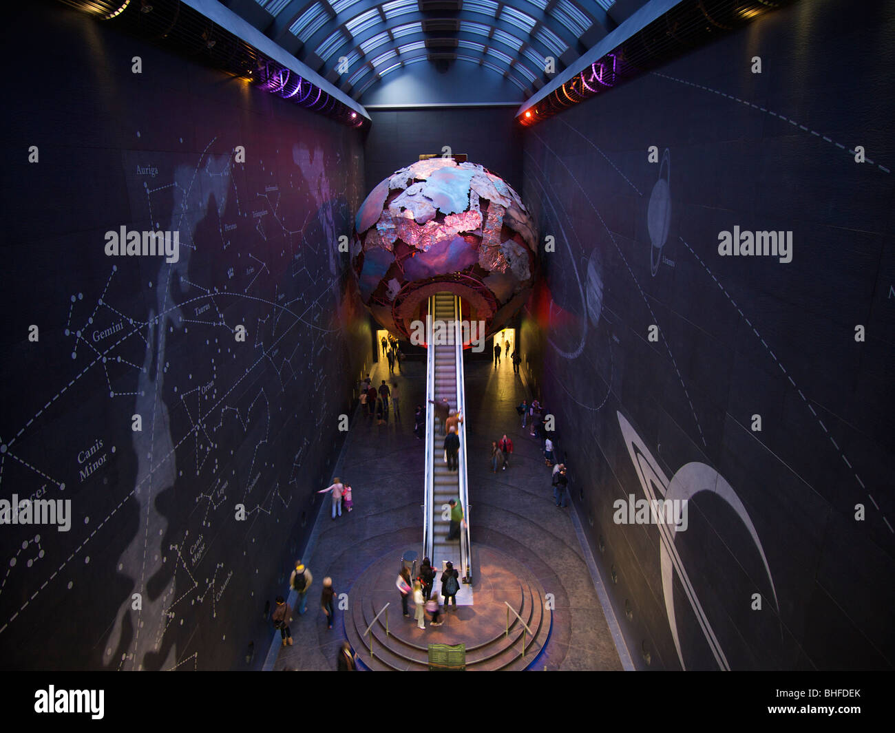 NHM Natural History Museum London UK exhibition about the universe, stars, and planets - Stock Image