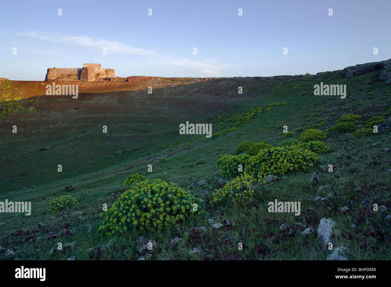Extinct crater, Guuanapay volcano and Castillo de Santa Barbara, 16th. century castle, near Teguise, UNESCO Biosphere - Stock Image