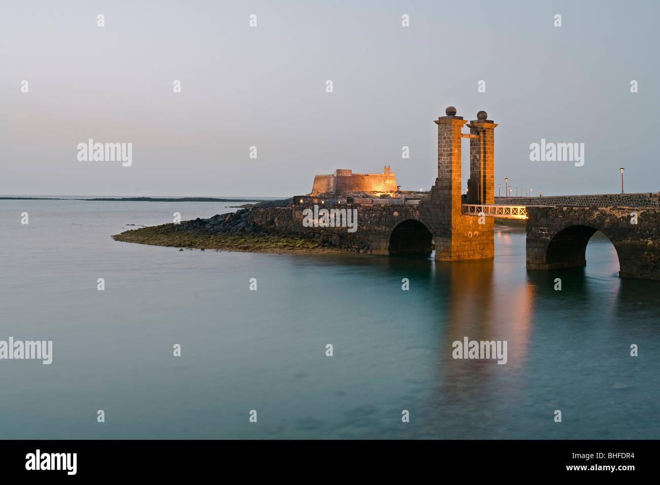 16th. century castle, Castillo de San Gabriel, with drawbridge, bridge, Puente de las Bolas, Arrecife, Lanzarote, Stock Photo