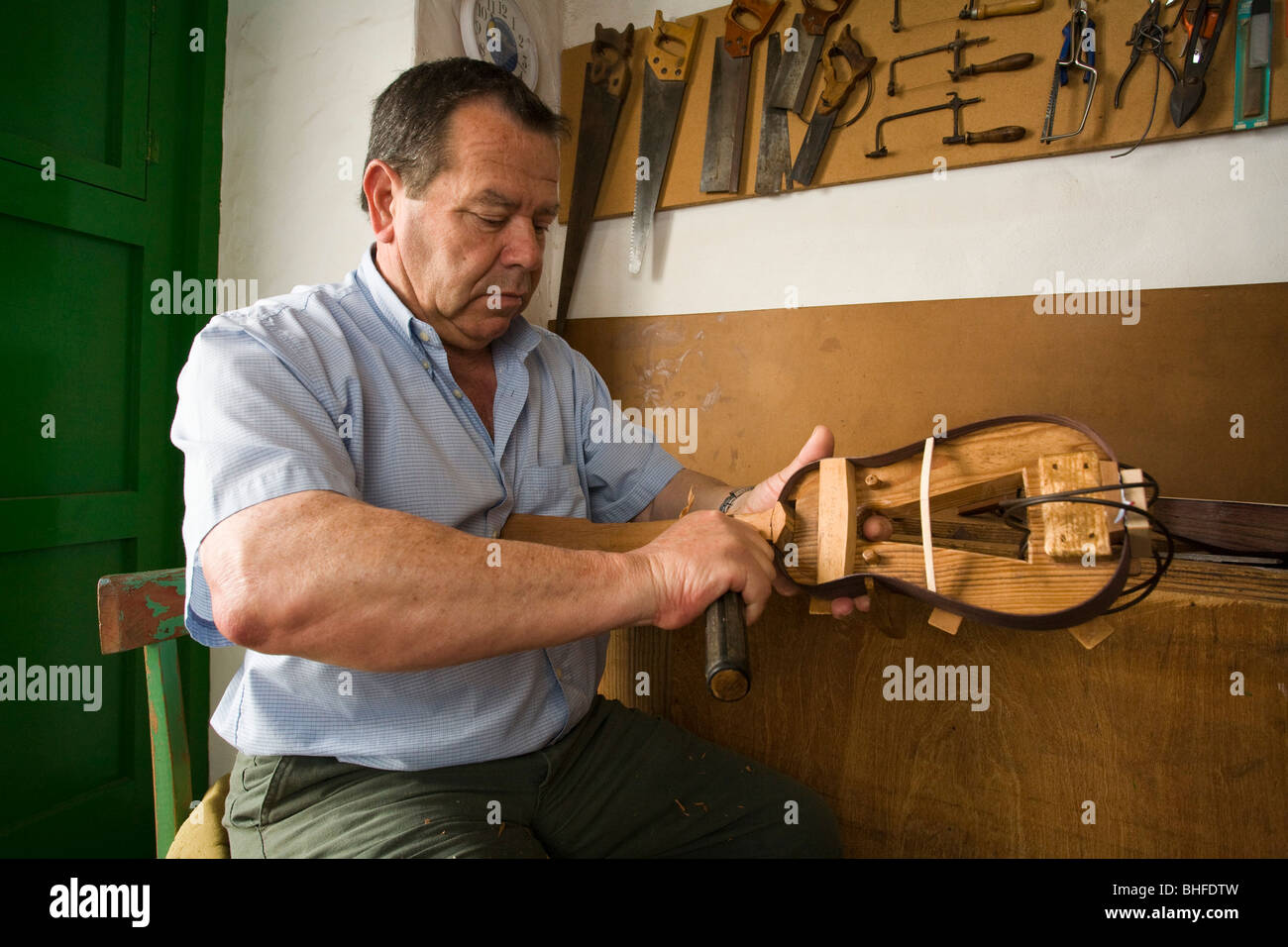 Antomio Lemes Hernandez, constructor of Timples, artisanry, stringed instrument, musical instrument, Teguise, Lanzarote, - Stock Image
