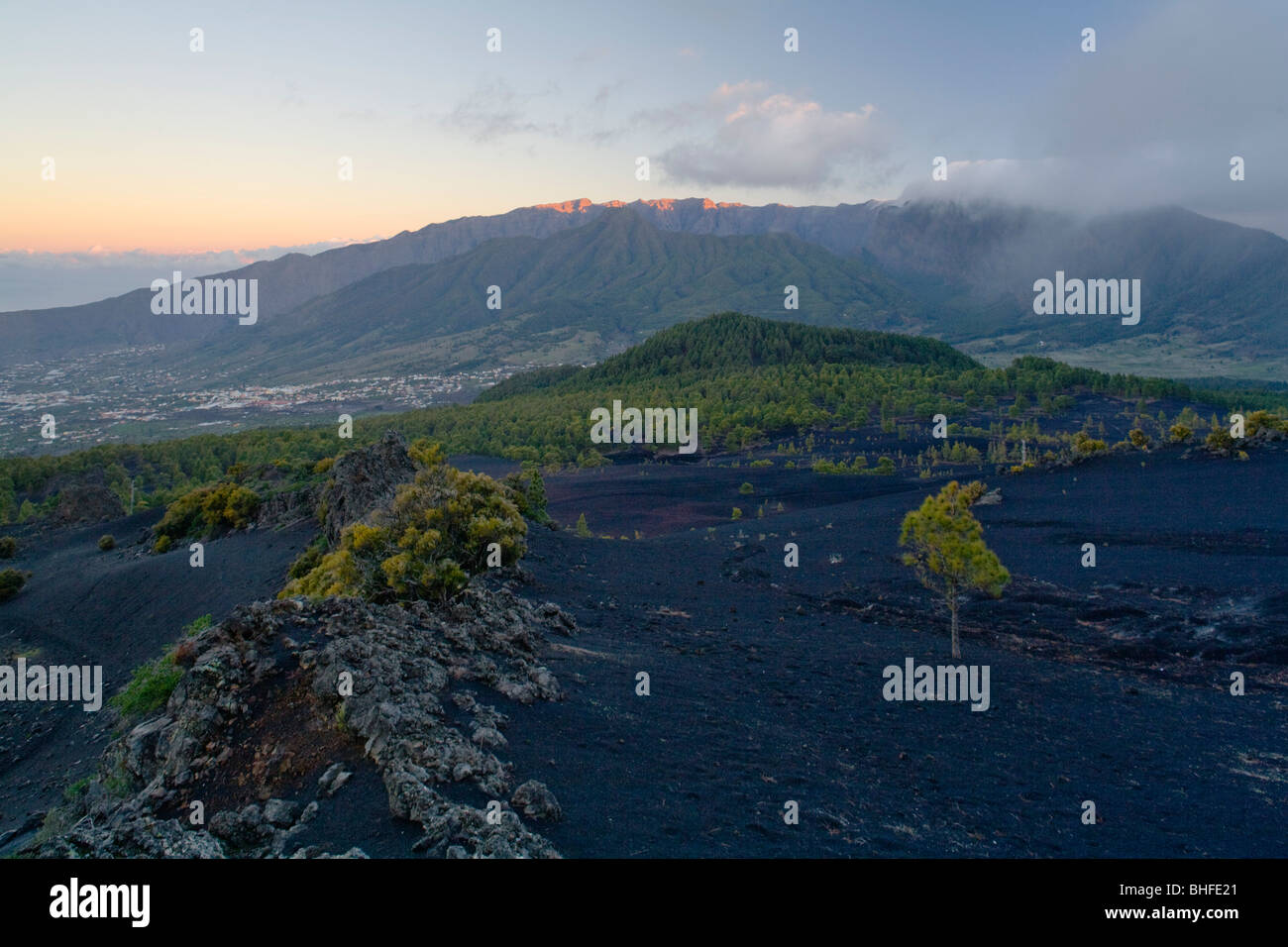 View from Montana Quemada towards the village of El Paso and Caldera de Taburiente, giant crater of extinct volcano, - Stock Image