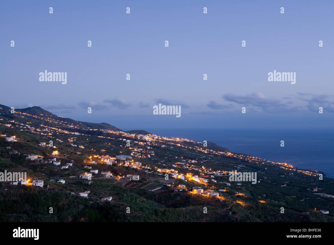 Viewpoint from Ermita de San Bartolome at sunrise, La Galga, east coast and village, Los Galguitos, UNESCO Biosphere - Stock Image