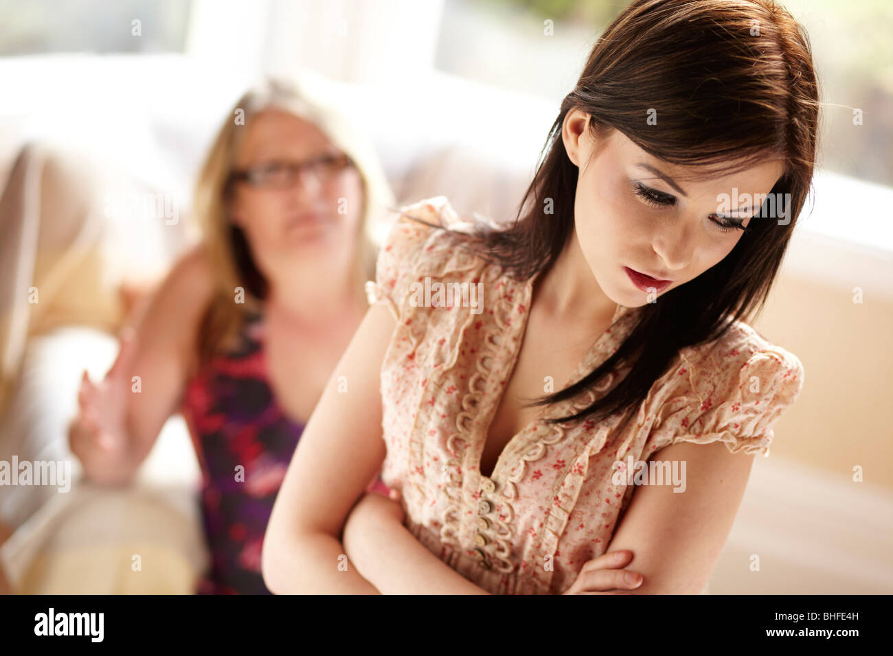 Mother telling daughter off - Stock Image