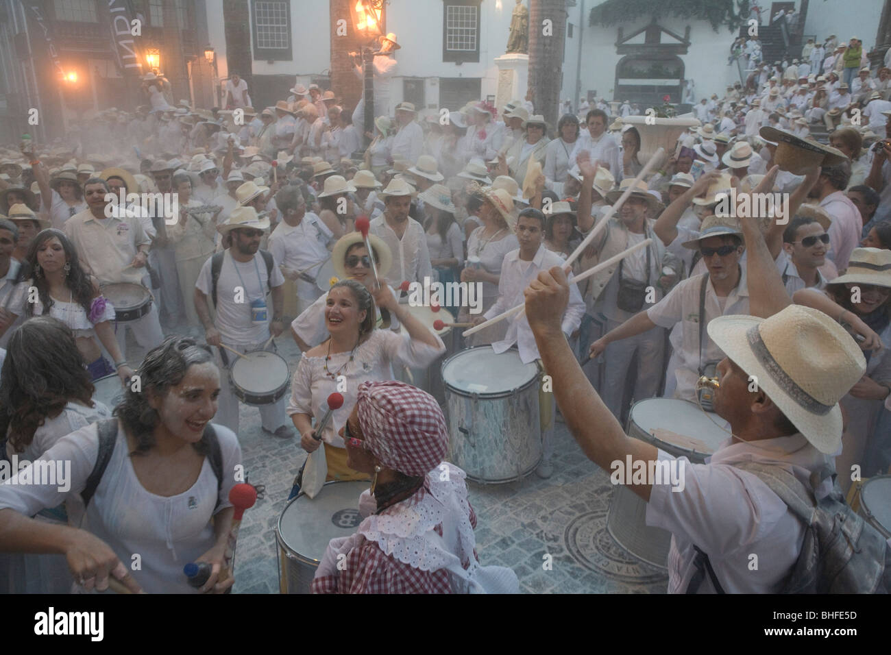 Drums at the talcum powder battle, local festival, revival of the homecoming for emigrants, Fiesta de los Indianos, - Stock Image